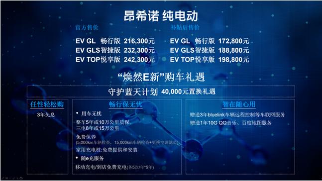 昂希诺纯电动上市17.28万起 置换补贴4万元